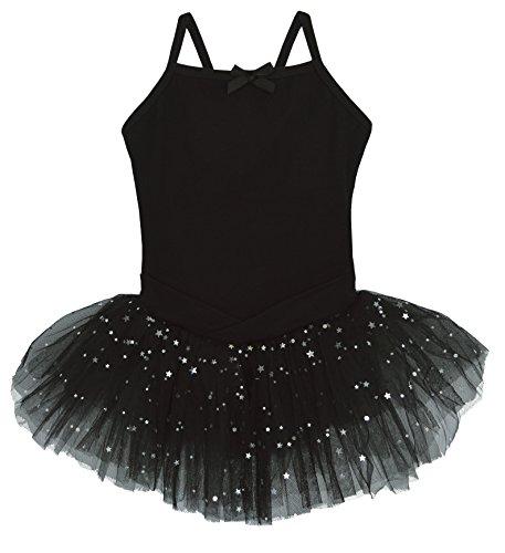 Dancina Leotard Camisole Ballet Tutu Dress Full Front Lining w/Glitter Stars Tulle Skirt 8 (Glitter Black Stars Snap)