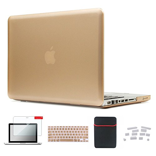 Se7enline MacBook Air Case Cover Sleeve 5in1 Set Accessories for MacBook Air 13 inch Model A1369/A1466 Hard Shell with Soft Sleeve Bag, Rubberized Keyboard Cover, Screen Protector, Dust Plug, Gold ()