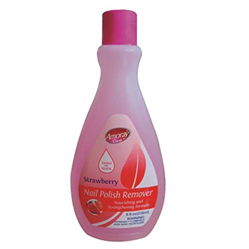 Amoray Nail Polish Remover 8oz Strawberry , Case of 48 by DollarItemDirect