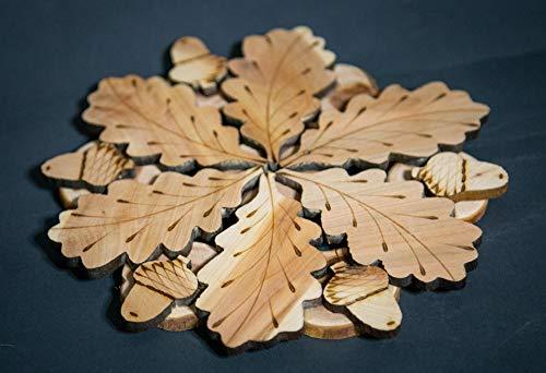 Teapot Trivets Set Handmade Carved Wood Ukrainian Juniper Wooden hot pad for a teapot + Cups by Tea Hot 2 (Image #1)