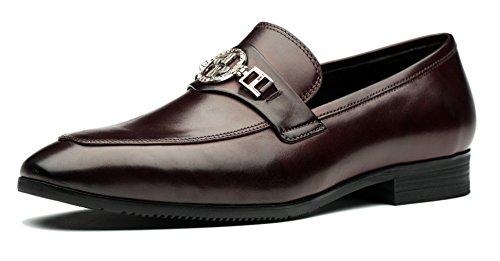 Mens Mode Skor Slip-on Läderklänningen Skor Design Röd