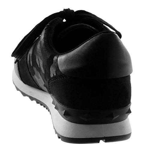 Angkorly Zapatillas Moda Deportivos Sporty Chic Tennis Bimaterial Mujer Camuflaje Tachonado Tacón Plano 3 cm Negro