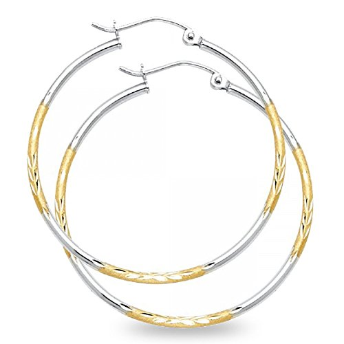 Round Hoop Earrings Solid 14k Yellow White Gold Diamond Cut Satin Finish Fancy Two Tone 35 x 1.5 mm (Hoop Satin Gold 14k Yellow)