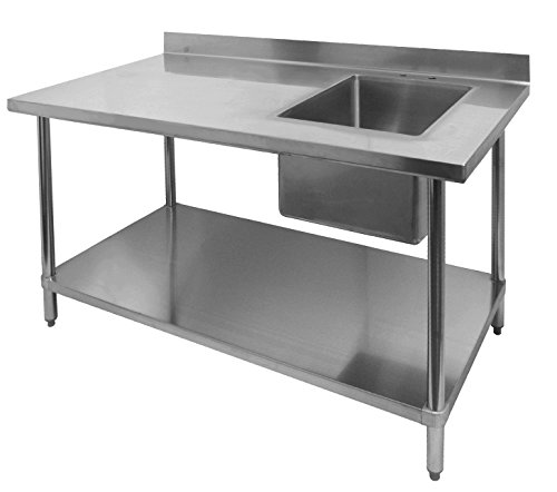 ACE Stainless Steel Commercial Prep. Table w/ 4 Rear Upturn & Right Side Sink Bowl, 30W x 60L x 35H, ETL Certified, WT-PS3060R