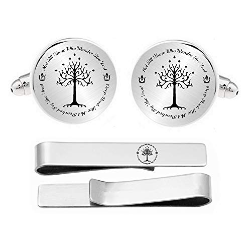 Kooer Personalized Engraved White Tree Cuff Links Tie Clip Set Engrave Tree of Life Cufflinks Wedding Jewelry Gift for Him Men Father Husband Boy Friend Groom (Round Style 1) ()