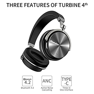 Bluedio T4 (Turbine) Active Noise Cancelling Over-ear Swiveling Wireless Bluetooth Headphones with Mic (White)