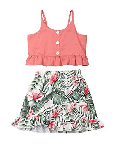 VISGOGO Toddler Baby Girls Outfits Clothes Set Halter Crop Tops + Flamingo Short Pants (6-7 Years, Q)