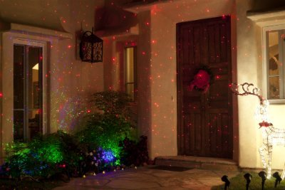 BlissLights Spright Laser Starfield Projector -- Red Firefly lights for home, business or event sites