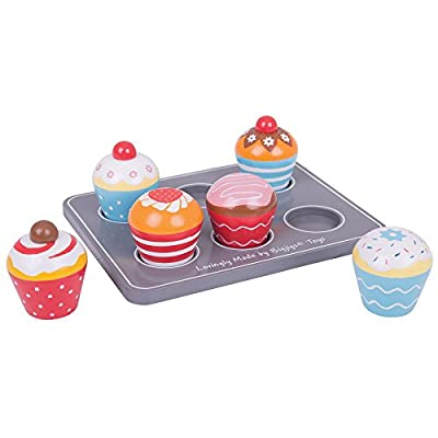 Bigjigs Toys Wooden Cupcakes and Wooden Muffin Tray - Play Food and Role Play for Kids: Toys & Games