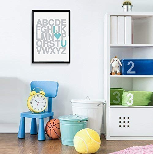 Grey Letters with Aqua Turquoise Heart ABC I Love You Alphabet Art Print 8x10