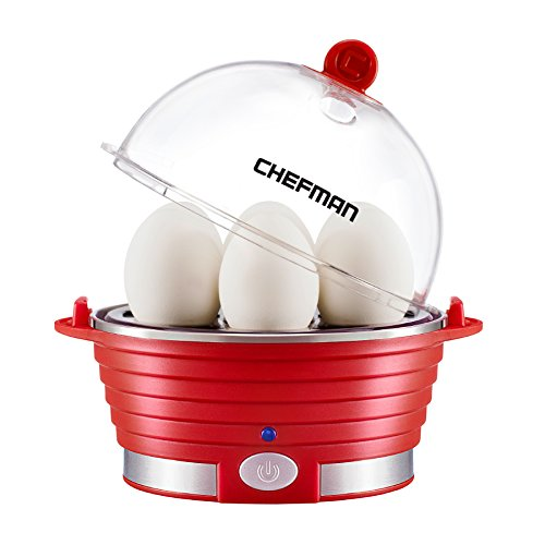 (Chefman Electric Cooker/Boiler Rapid Maker Countertop Modern Stylish Design, Hard Boil Steamer & Poacher, 6 Egg Capacity with Removable Tray, BPA-Free, Red)