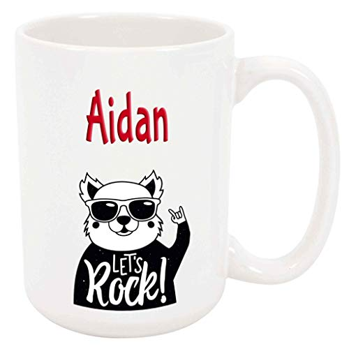 Aidan Let's Rock! - 15 Ounce Coffee or Tea Mug, White Ceramic, Unique Special Present or Gift Idea for Son Boy Brother Father Friend Musician Rock Music