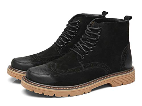 Stivali Up Intagliato Pelle 42EU Stivali Casual Toe Autunno Lace Martin Black Di Mens Brock 04Xw55