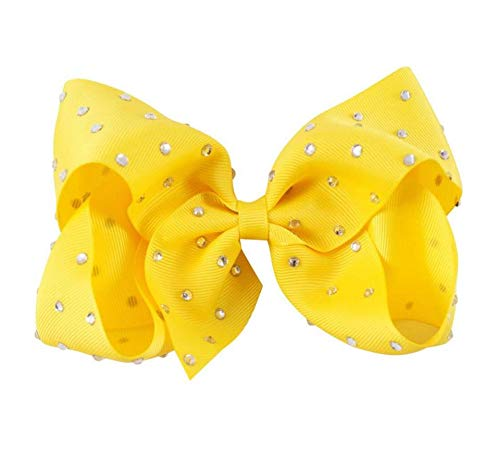 Yellow bow - yellow hairbow - rhinestone bow -sparkle bow - girls hairbow - bow - birthday hairbow large boutique bow - hairbow - hair bow - fall bow - girls bow - sparkly bow - holiday bow -