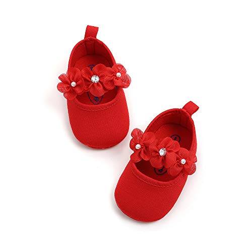(Meckior Infant Baby Girls Soft Sole Prewalker Crib Mary Jane Shoes Princess Light Shoes (0-6 Months, A-red))