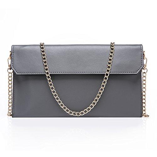 S-ZONE Women's Genuine Leather Envelope Clutches Handbag Shoulder Evening Bag (Grey) by S-ZONE
