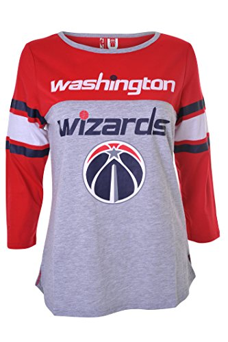 fan products of NBA Women's Washington Wizards T-Shirt Ragan Baseball 3/4 Long Sleeve Tee Shirt, Large, Red