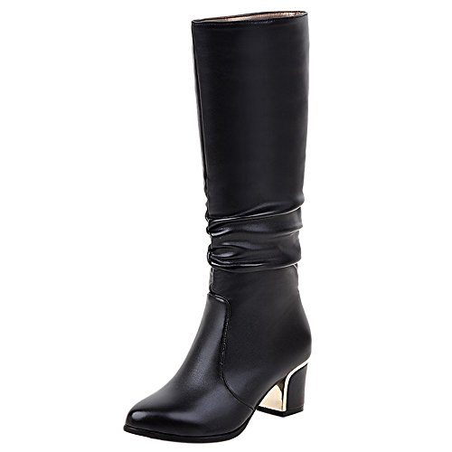 COOLCEPT Women Fashion Square Medium Heel Slouch Boots Pull On Black yLQn9