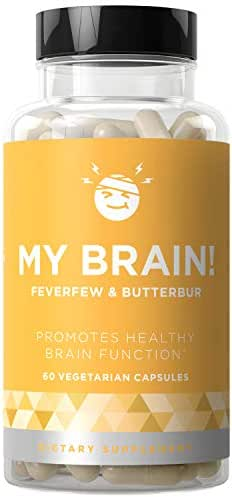 My Brain! Natural Headache Vitamins - Healthy Brain Function, Ease Your Mind, Open & Clear Head Relief - Strong Potency Magnesium, Butterbur, Feverfew - 60 Vegetarian Soft Capsules