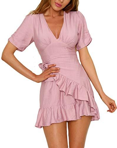 Women's Belted FOUR Sexy Rose V CLOUR Mini Cocktail Dress Short Neck Ruffle Deep Sleeve 5p6vq