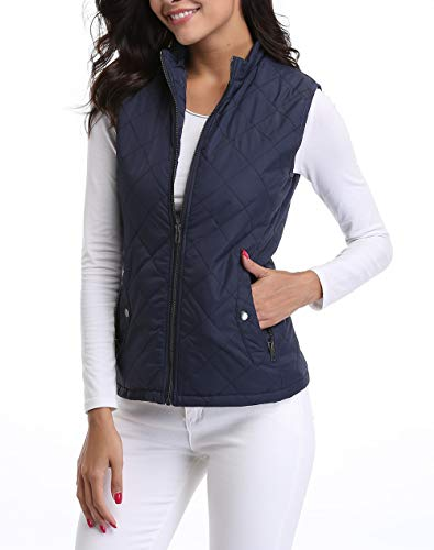 3/4 Quilted Down Coat - MISS MOLY Women's Lightweight Zip up Stand Collar Warm Quilted Gilets Padded Puffer Vest Outerwear w 2 Pockets Dark Blue