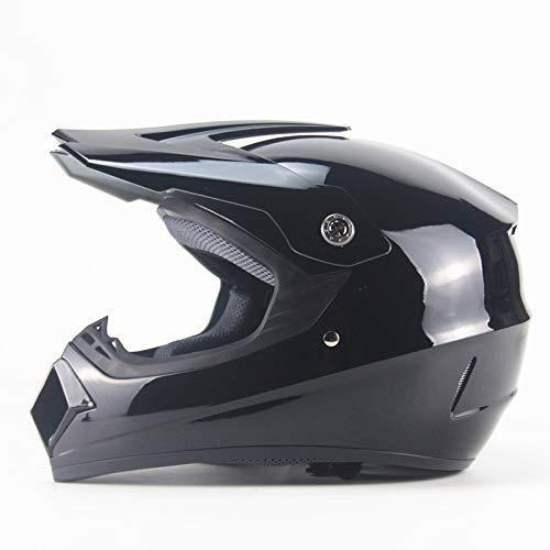 Ocamo Casco Todoterreno de protección Totalmente Envuelto, Casco de Carreras de Motocross Negro Brillante, L