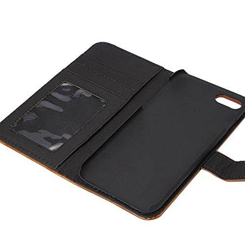 JIALUN-carcasa de telefono Horizontal Folio Stand Case cubierta con Kickstand & Card Slots y cierre magnético para el iPhone 7 ( Color : Red ) Blue