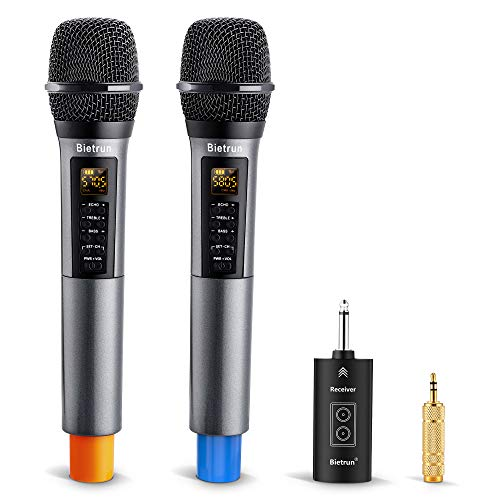 Wireless Microphone with Echo, Treble, Bass & Bluetooth, 98 FT Range, Portable UHF Handheld Wireless Karaoke Dynamic…