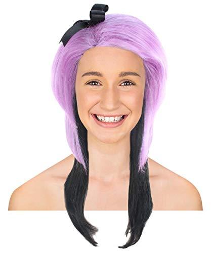 - Halloween Party Online Cheerleader Wig, Purple & Black Kids HW-2199K