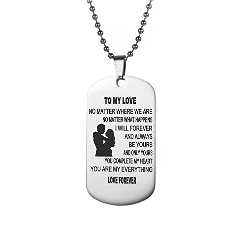 Chic Silver Dog Tag Necklace Gifts for Boyfriend Girlfriend Husband and Wife Jewelry Military Stainless Chains Air Force Pendants Daily, Birthday, Valentine's day - Good Ideas Date Valentine