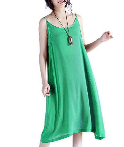 YESNO JEL Women Casual Loose Slip T-Shirt Dresses Beach Cover up Plain Dress A Skirt Hemline (M, JEL Green)