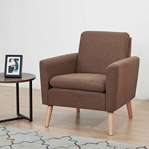 RUUF Accent Chair Armchair, Modern Fabric Single Sofa with Solid Wood Legs and High-Density Foam, Comfy Upholstered Sofa Chair for Living Room, Bedroom, Office, Coffee