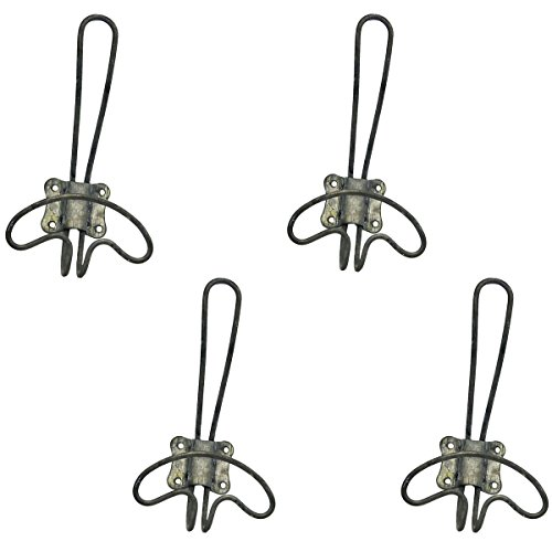Zinc Wire - Rustic Vintage Style Small Zinc Wire Wall Coat Hat Towel Hooks - Set of 4