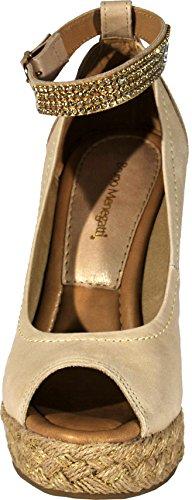 Bruno Menegatti 11326334 Womens Plattform Kil Läder Sandal Med Ornament Naturliga