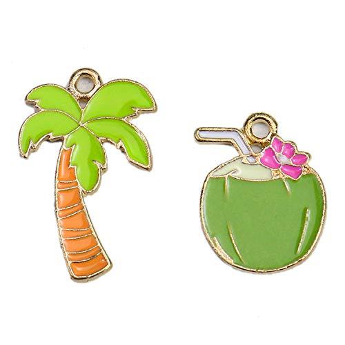 Monrocco 20 pcs Enamel Tree Charms Tropical Coconut Palm Trees Charm Bead for Jewelry Making