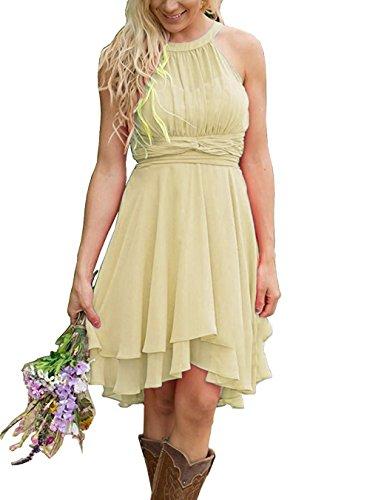 Meledy Women's Short A Line Country High Low Halter Chiffon Bridesmaid Dress Western Wedding Guest Dress Light Yellow US12