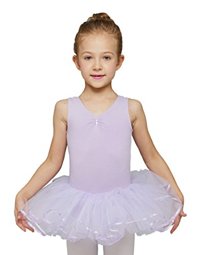 MdnMd Leotard with Tutu for Girls (Purple, Age 4-6, Tag 120) ()