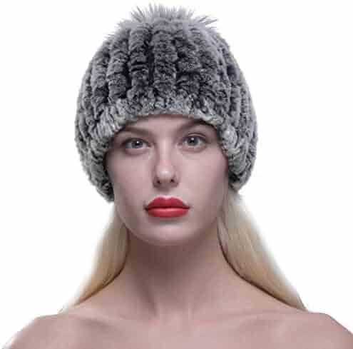 523637f70ed90 URSFUR Women s Real Knit Rex Rabbit Fur Beanie Hat Cap with Fox Fur Pom Pom