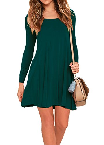 AUSELILY Women's Pockets Casual Swing T-shirt Dresses (XL, Long sleeve-Dark Green)