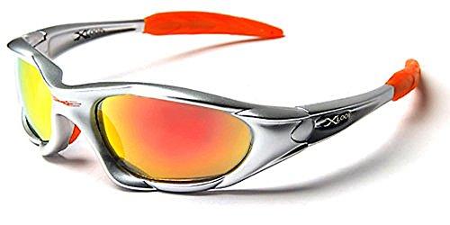 X-Loop Sonnenbrillen - Sport - Radfahren - Skifahren - Laufen - Driving - Motorradfahrer - Kajak - Klettern - Angeln / Mod. 1002 Grau Orange Spektrum / One Size Adult / 100% UV400 Schutz