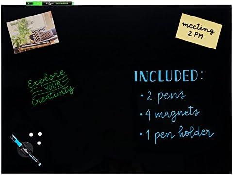 Stationery Island Magnettafel Glas – 45x60cm Schwarz. Trocken Abwischbares Memoboard Mit Kreidestiften, Stifthalter, Schwamm Und Magneten. Für Notizen, Erinnerungen, Präsentationen Und Darstellungen