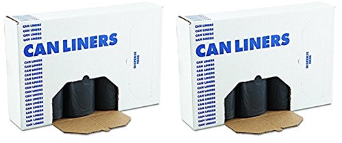 Boardwalk 517 Super Heavy Grade Can Liners, 40 x 46, 40-45gal, 1.2mil, Black, 10 Bags Per Roll (2 Cases of 10 Rolls)