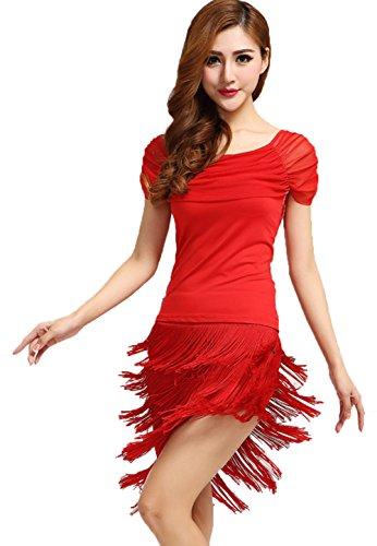 Red Salsa Dress (NAKOKOU Womens Latin Dance Tassel Dress Ballroom Salsa Samba Rumba Tango Swing Rhythm Costume(Red,L))