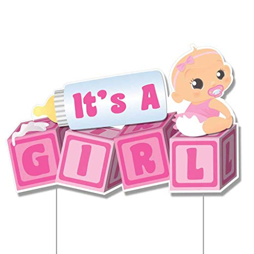 VictoryStore Yard Sign Outdoor Lawn Decorations, It's a Girl Baby Blocks, Baby Announcement Yard Sign - (Light Skin Tone Baby) -