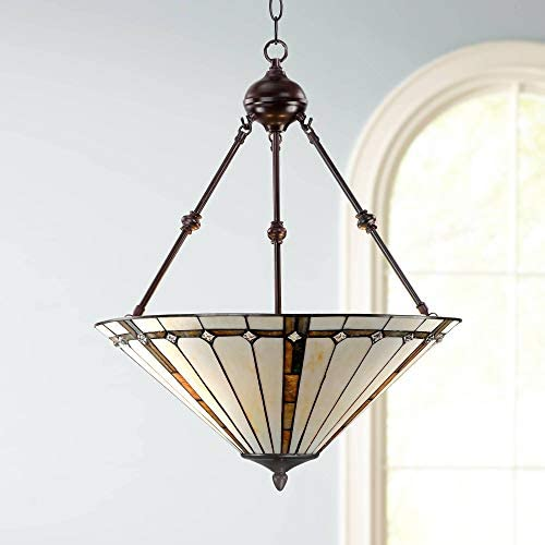 Bronze Tiffany Pendant Chandelier 20 Wide Modern Gold Texture Ivory Stained Glass 3-Light Fixture for Dining Room House Foyer Kitchen Island Entryway Bedroom Living Room – Robert Louis Tiffany