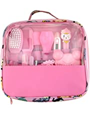 Nursery Care kit Infant Baby Healthcare Kit Thermometer Grooming Manicure Nail Care Baby Hair Brush Set with Carry Bag for Travelling & Home Use (Pink)