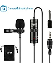 Moukey MLM-1 Lapel Microphone,Lavalier Mic for DSLR Camera,Smartphone,PC,Recording,Podcast
