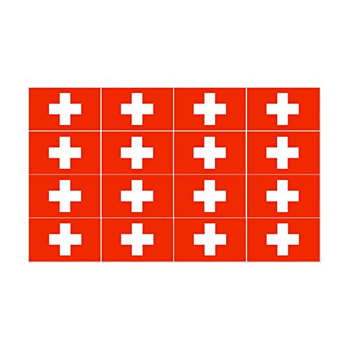 CafePress - 1/4 Scale Swiss Flags - Rectangle Bumper Sticker Car Decal Rectangle Swiss
