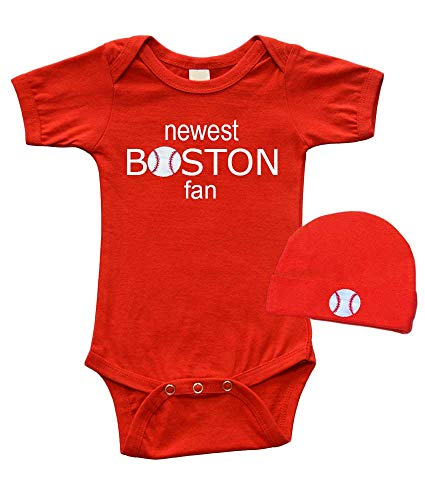 Baby Bodysuit and Cap Set - Newest Boston Fan, Red, 3-6m