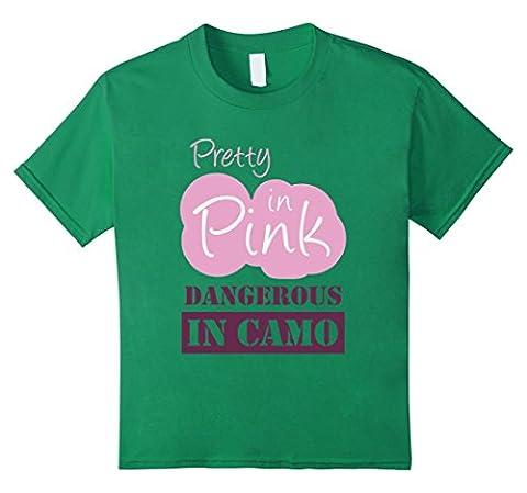 Kids Girl Pretty in Pink Dangerous in CAMO t-shirt Hunter Fishing 8 Kelly Green - Girls In Camo